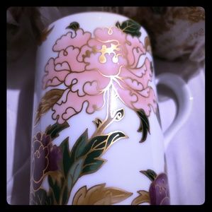 "Fritz and Floyd Accessories - 4 Fritz & Floyd ""Cloisonnè Peony "" Porcelain Cups"